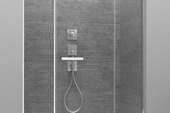 Одностворчатая распашная дверь между двумя фиксированными элементами