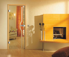 Одностворчатые распашные стеклянные двери